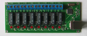 Smart house systems Vitaprom Eight-ports digital output USB HID board with relay-controlled output.